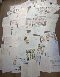 piles of sketches and notes from back in april